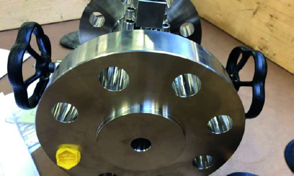 Close up of high temperature dbb valves for steam injection. Used as enhanced oil recovery application.